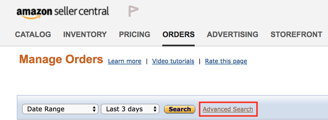 Amazon Review Order Matching Step 6- Advanced Search link on Manage Orders page
