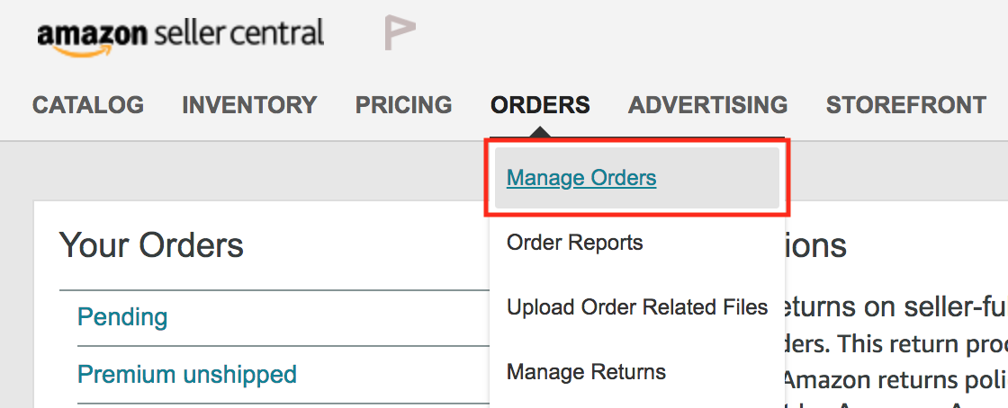 Amazon Review Order Matching Step 5 - Manage Orders link on Seller Central homepage