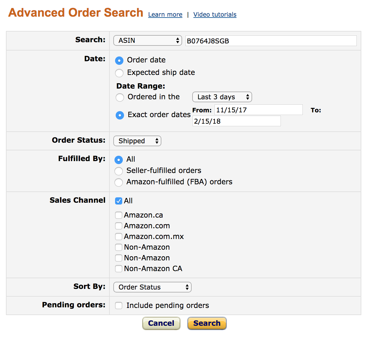 Amazon Review Order Matching Step 7 - Example Advanced Order Search query
